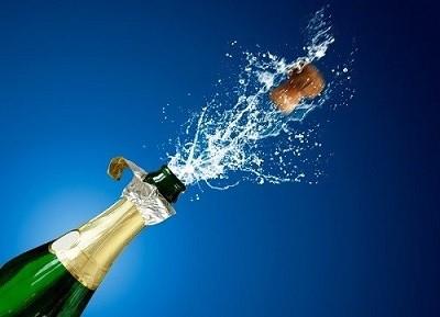 Botella de champán para celebrar